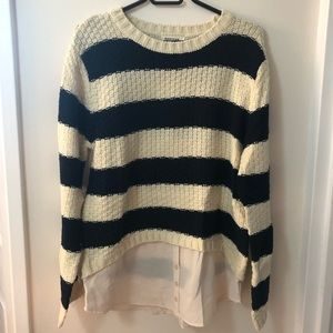 Striped knitted sweater with faux under shirt
